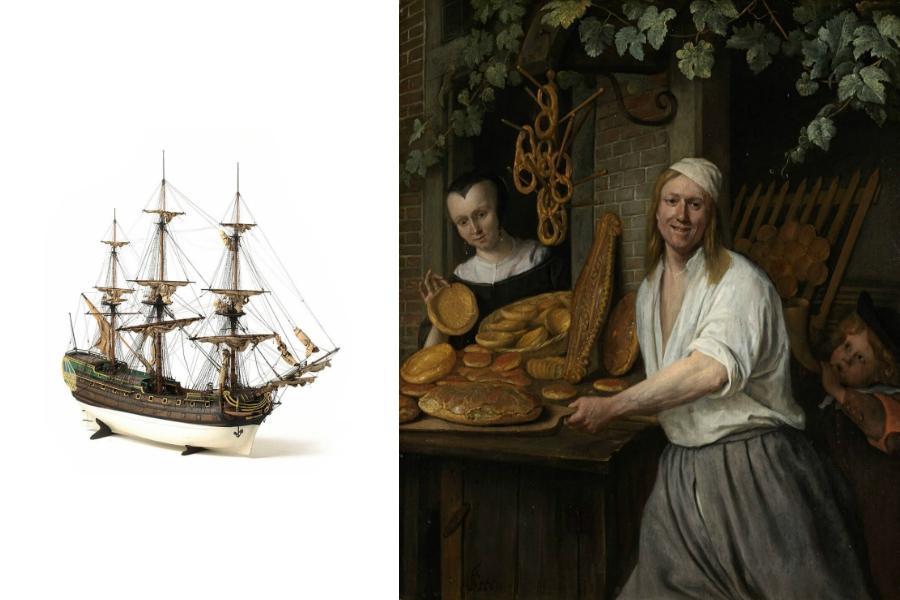 BREUDHER - PŘÍBĚH HOLANDSKÉHO CHLEBA<br> Pekař a jeho žena hrdě ukazují své čerstvě upečené zboží. Na zadní straně obrazu jsou uvedena  jména tohoto páru. Je zde zmiňován i chlapec, který je malířův syn. Jan Steen zkombinoval v jedné malbě několik žánrů. Je to současně portrét, zobrazení profese i zátiší s chlebem.<br>Foto: Rijksmuseum