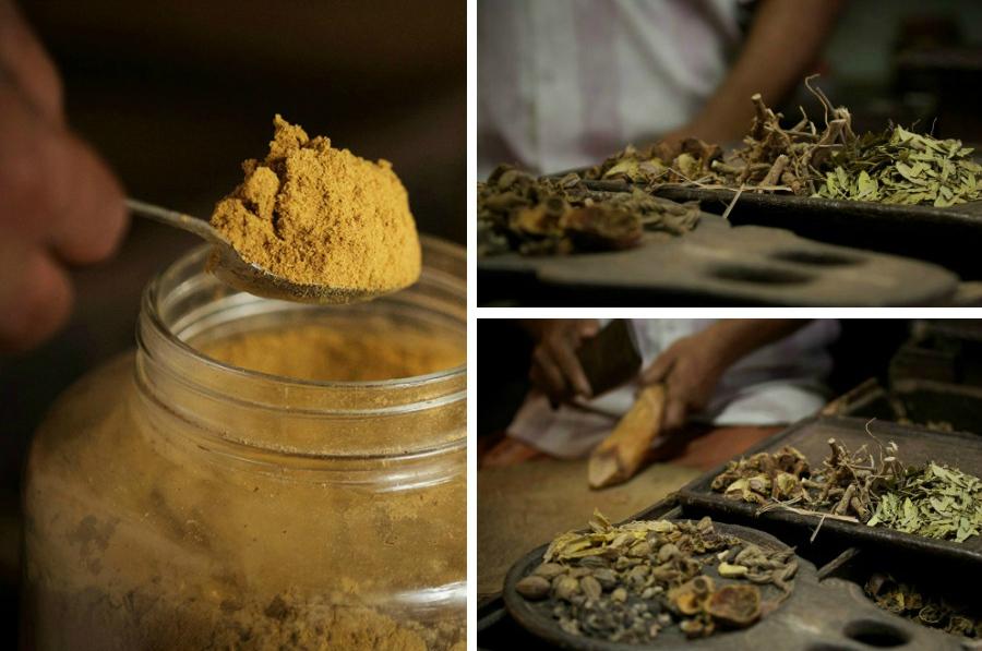 Malvatdavai, aromatický prášek, který se v určitých komunitách používá jako peeling pro tělo nevěsty při rituální předsvatební koupeli, a který tělu dává dráždivou vůni.  <br> <br> Tradiční dřevěné prkénko, používané k ukládání léčivých složek, vybraných podle předpisu.